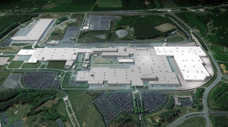 Mercedes-Benz plant Tuscaloosa, Alabama, USA: The company invests $1.3 billion in the expansion of the SUV production at its US site. The rendering shows the plant area including the planned expansion (white surfaces). This includes a new Body Shop and major enhancements to the SUV Assembly Shop. Photo Credit: Mercedes-Benz.