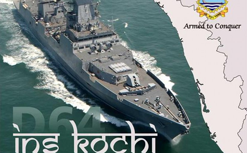 Indian Navy Ship INS Kochi during Sea Trials. Photo: IDRW, WIkipedia Commons.