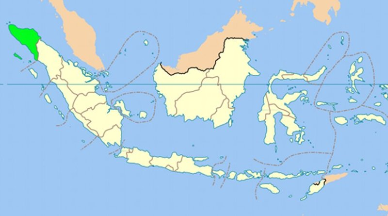Location of Aceh (green) in Indonesia. Source: Wikipedia Commons.