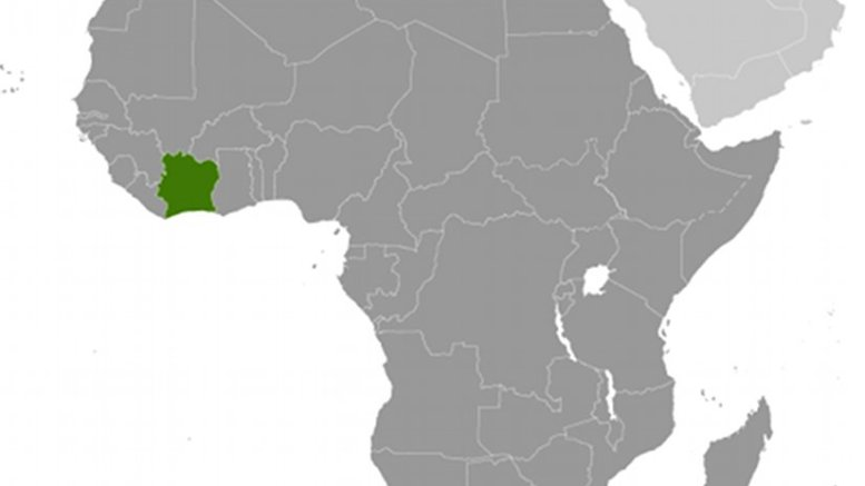 Location of Ivory Coast (Cote d'Ivoire). Source: CIA World Factbook.