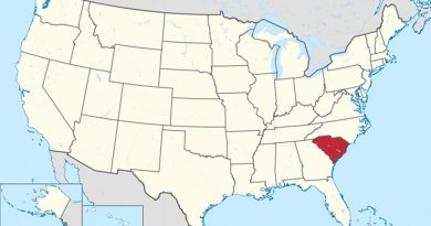 Location of South Carolina in United States. Source: Wikipedia Commons.