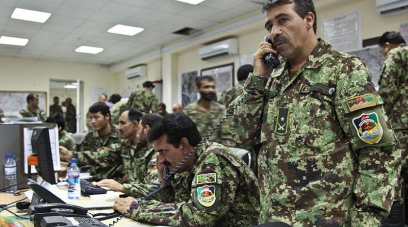 Afghan National Army soldiers wait for updates during runoff elections at Forward Operating Base Gamberi, Laghman Province, Afghanistan, June 14, 2014 (U.S. Army/Dixie Rae Liwanag)
