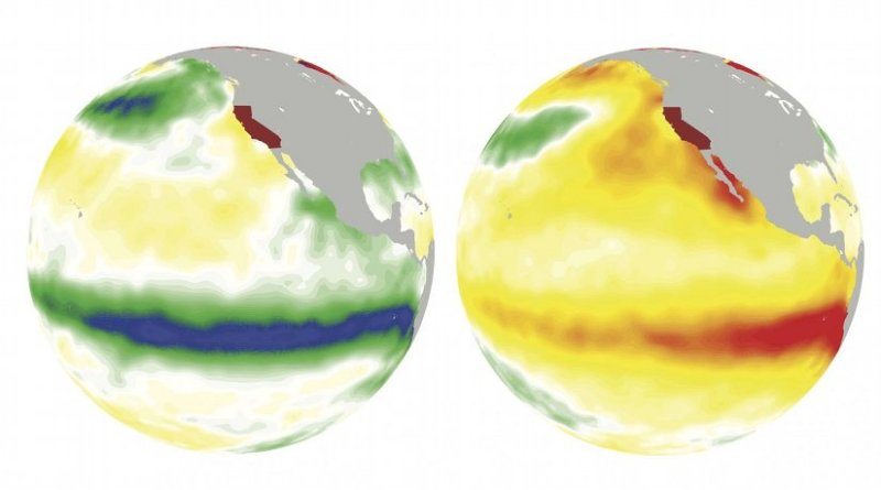 On the left, La Nina cools off the ocean surface (greens and blues) in the winter of 1988. On the right, El Nino warms up it up (oranges and reds) in the winter of 1997. Credit: Jin-Ho Yoon/PNNL