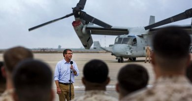 U.S. Defense Secretary Ash Carter speaks to U.S. service members on Morón Air Base, Spain, Oct. 6, 2015. U.S. Marine Corps photo by Staff Sgt. Vitaliy Rusavskiy
