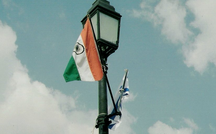 Flags of India and Israel. Photo by Aviad2001, Wikipedia Commons.