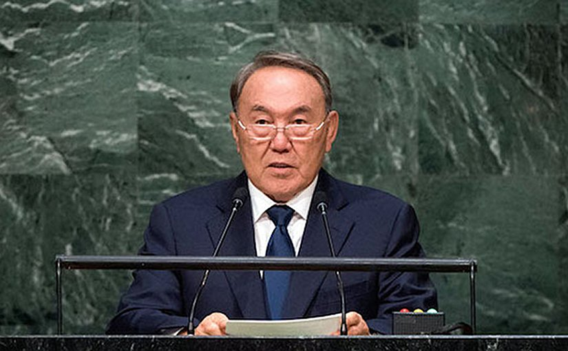 Kazakh President Nursultan Nazarbayev addressing the UN General Assembly in September 2015. Credit: almaty.sites.unicnetwork.org