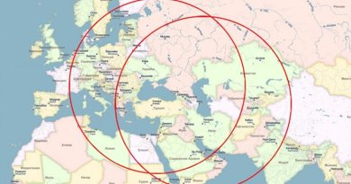 Kalibr-NK reach zone from Caspian (right circle) and Black Sea area. Source: Oriental Review.