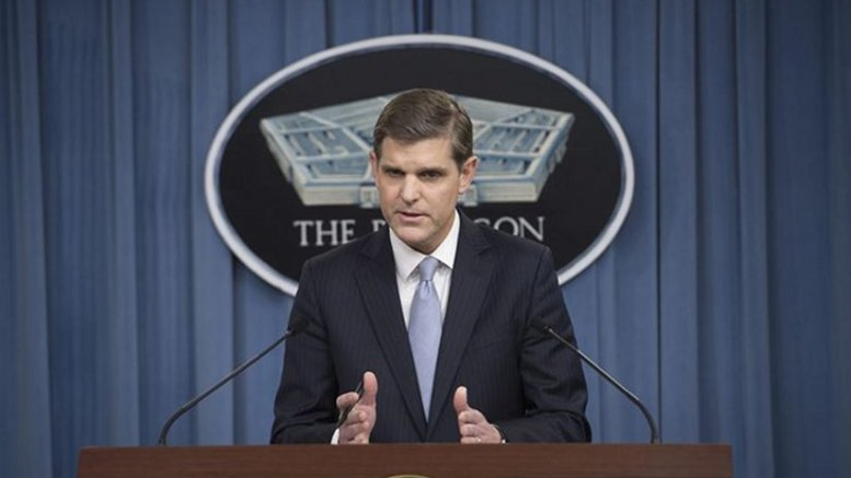 Pentagon Press Secretary Peter Cook conducts a news conference with reporters at the Pentagon. DoD photo by Air Force Senior Master Sgt. Adrian Cadiz