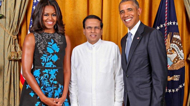 Sri Lanka's President Maithripala Sirisena with US President Barack Obama and wife Michelle Obama. Photo via Sri Lanka government.
