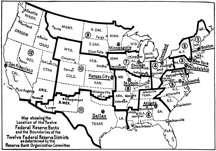 Figure 1. Federal Reserve Districts in 1914 Source: RBOC (1914).