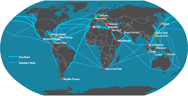 Figure 2. Overview of global shipping lanes. Source: Hofstra University, New York.