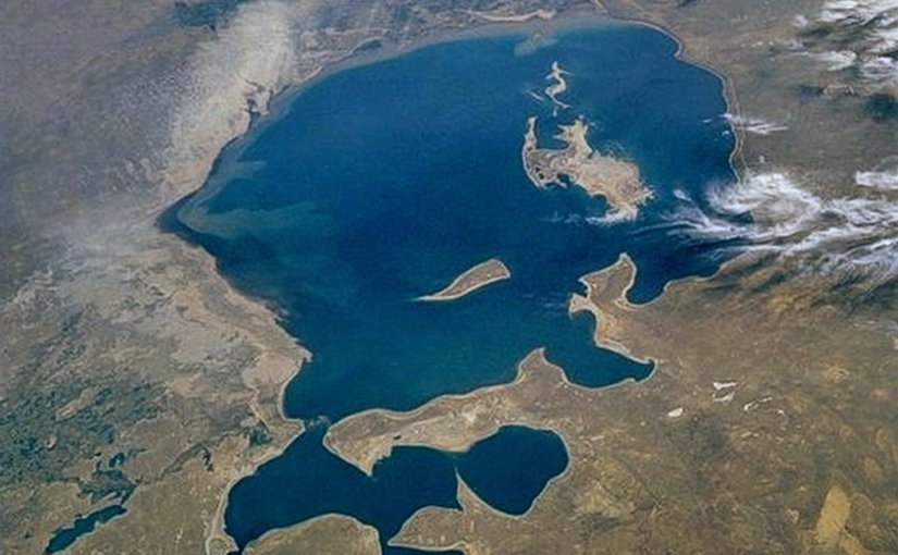 Aral Sea from space. Photo Credit: NASA.
