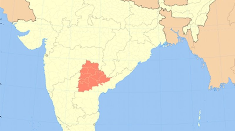 Location of Location of Telangana in India. Source: Wikipedia Commons.