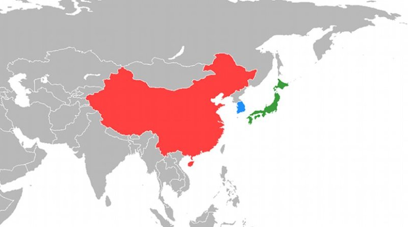 Locations of China, Japan and South Korea. Source: Wikipedia Commons.