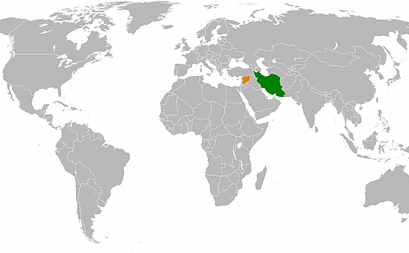 Locations of Syria (orange) and Iran (green). Source: Wikipedia Commons.