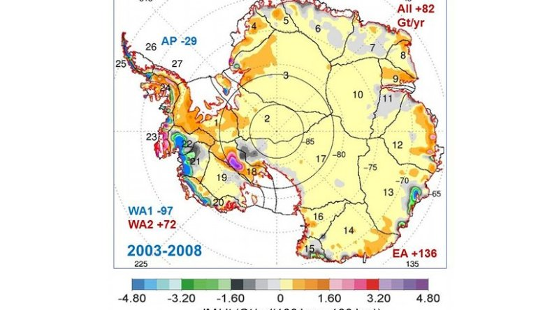 This map shows the rates of mass changes from ICESat 2003-2008 over Antarctica. Sums are for all of Antarctica: East Antarctica (EA, 2-17); interior West Antarctica (WA2, 1, 18, 19, and 23); coastal West Antarctica (WA1, 20-21); and the Antarctic Peninsula (24-27). A gigaton (Gt) corresponds to a billion metric tons, or 1.1 billion U.S. tons. Credit Credits: Jay Zwally/ Journal of Glaciology