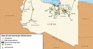 Libya oil and gas infrastructure. Source: EIA