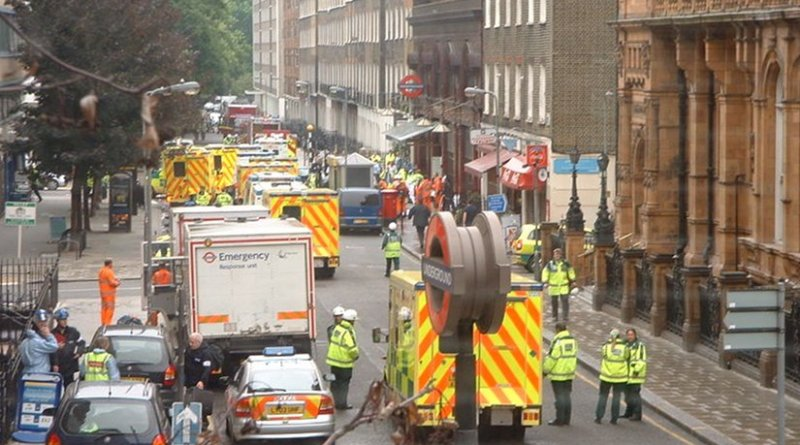 Ambulances at Russell Square, London after the 7th July bombings. Photo by Francis Tyers, Wikipedia Commons.