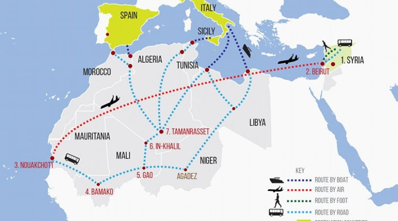 A small but growing number of Syrians are attempting a new and circuitous route to Europe: flying more than 3,000 miles to Mauritania in West Africa and then travelling overland with smugglers on the ancient salt roads from Mali through the Sahara. Source: IRIN.