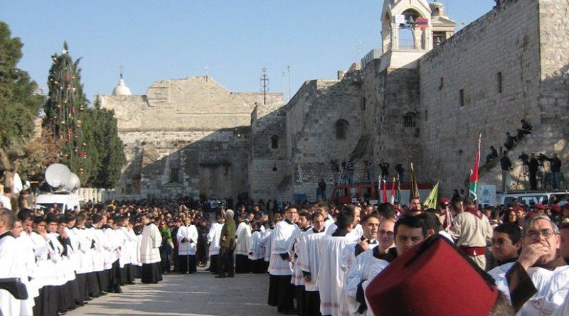 Catholic procession on Christmas Eve in Bethlehem. Photo by Donatus, Wikipedia Commons.