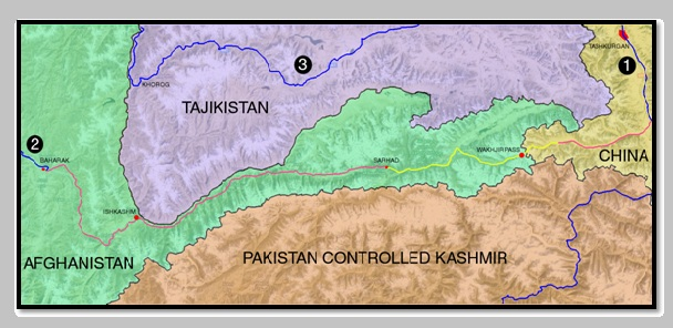 Figure 2: Dark Blue – Paved all-weather roads; Pink – Unpaved dirt tracks for 4WD travel; Yellow – Projected Wakhan Road; 1: Karakoram Highway (North to Kashgar, South to Gilgit); 2: 1.5 hours from Baharak to Fayzabad and onwards to Kabul 3: Pamir Highway (West to Dushanbe, East to Osh)  (Map drawn by hand by the author and should not be seen as authoritative)