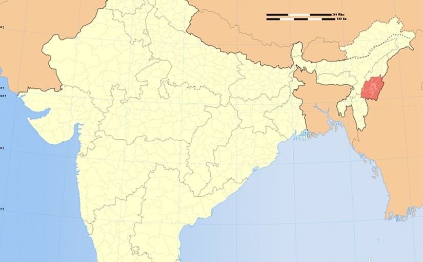Location of Manipur in India. Source; Wikipedia Commons.