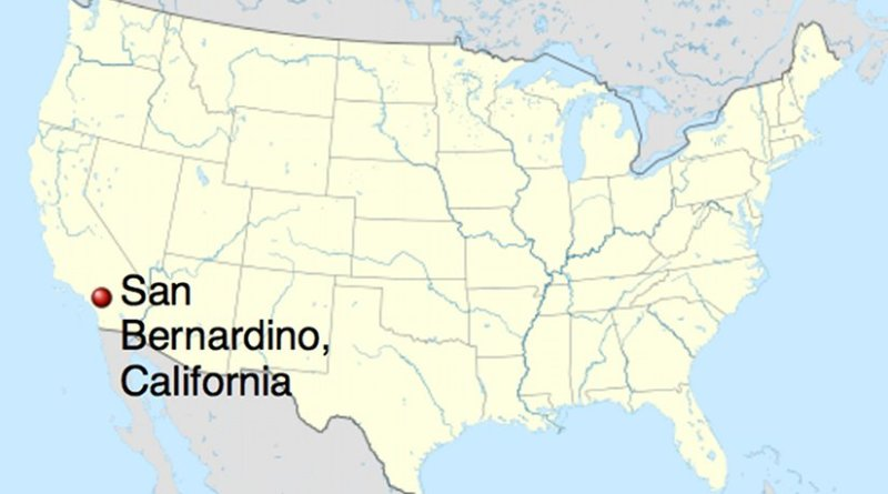 Location of San Bernardino, California. Source: Wikipedia Commons.