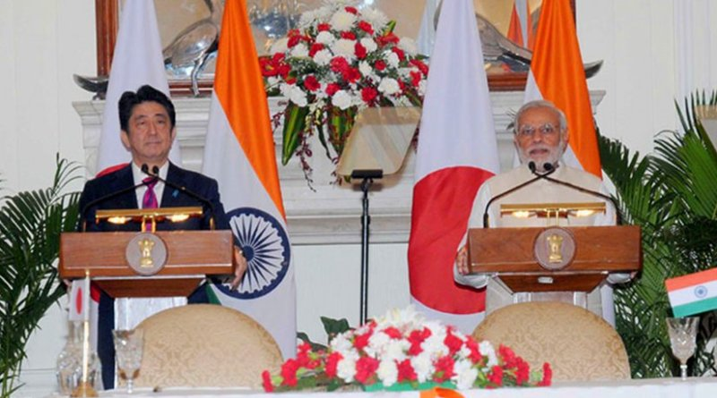 Japan's Shinzo Abe and India's Narendra Modi. Photo Credit: Office of India's Prime Minister.