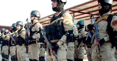 Peshmerga special unit near the Syrian border. Photo by Enno Lenze, Wikipedia Commons.