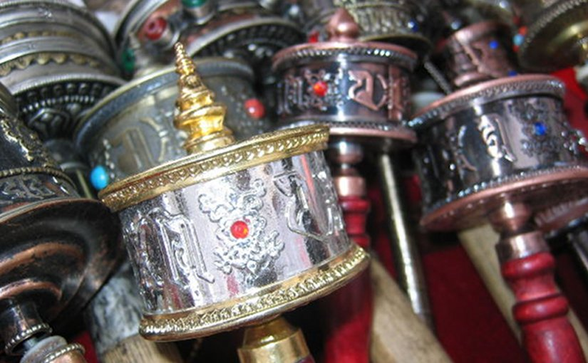 Tibetan prayer wheels.