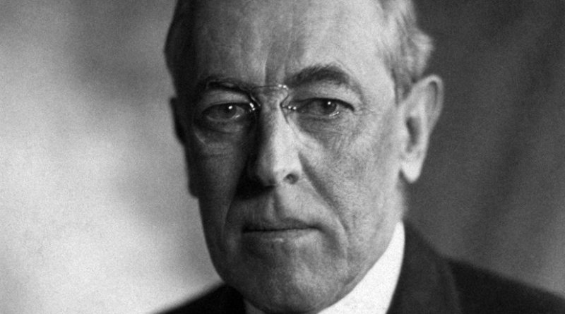 Woodrow Wilson. Portrait by Harris & Ewing, Wikipedia Commons.