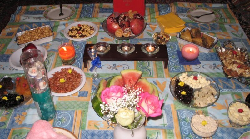 A table cloth with a variety of Yalda favorites taken by Eliza Tasbihi. Source: Wikipedia Commons.