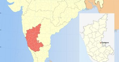 Location of Challakere in India's southern Karnataka state.