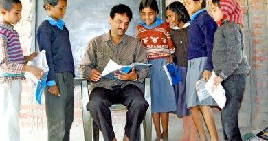 A classroom in a rural school in India.