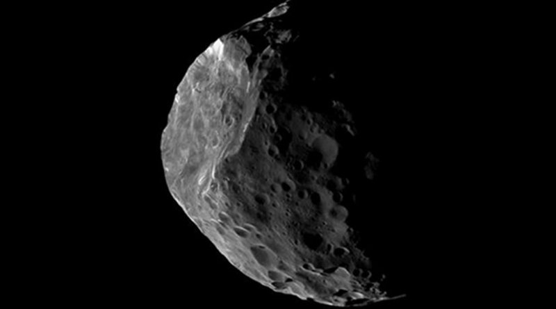 Because they are so distant from the Earth, Centaurs appear as pinpricks of light in even the largest telescopes. Saturn's 200-km moon Phoebe, depicted in this image, seems likely to be a Centaur that was captured by that planet's gravity at some time in the past. Until spacecraft are sent to visit other Centaurs, our best idea of what they look like comes from images like this one, obtained by the Cassini space probe orbiting Saturn. NASA's New Horizons spacecraft, having flown past Pluto six months ago, has been targeted to conduct an approach to a 45-km wide trans-Neptunian object at the end of 2018. Credit: NASA/JPL-Caltech/Space Science Institute