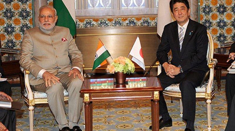 Prime Minister Narendra Modi of India and Prime Minister Shinzo Abe of Japan, during former's bilateral visit to Japan, 2014. Photo Credit: Narendra Modi's official Flickr stream, Wikipedia Commons.