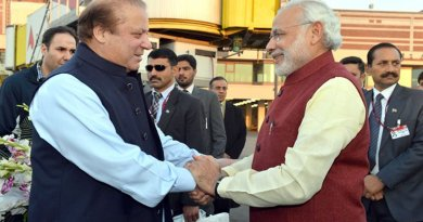 Pakistan's Prime Minister Nawaz Sharif meets India's Premier Narendra Modi. Photo Credit: India Prime Minister Office.