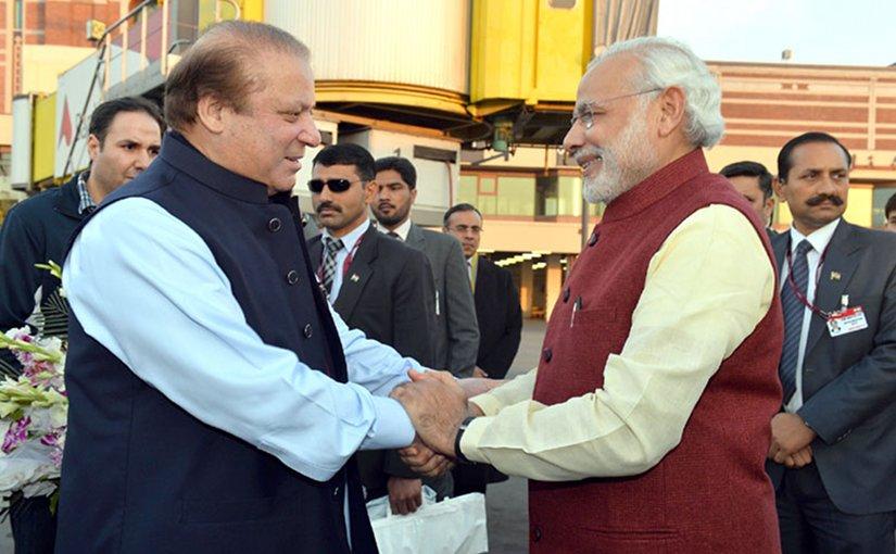 Pakistan's Prime Minister Nawaz Sharif meets India's Premier Narendra Modi. Photo Credit: India Prime Minister Office.