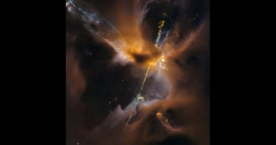 The two lightsaber-like streams crossing the image are jets of energized gas, ejected from the poles of a young star. If the jets collide with the surrounding gas and dust they can clear vast spaces, and create curved shock waves, seen as knotted clumps called Herbig-Haro objects. Credit: ESA/Hubble & NASA, D. Padgett (GSFC), T. Megeath (University of Toledo), and B. Reipurth (University of Hawaii)