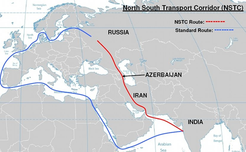Map of North South Transport Corridor route versus standard route from India. Source: Wikipedia Commons.