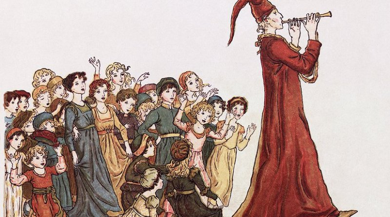 "The Pied Piper leads the children out of Hamelin. Illustration by Kate Greenaway for Robert Browning's ""The Pied Piper of Hamelin"". Source: Wikipedia Commons."