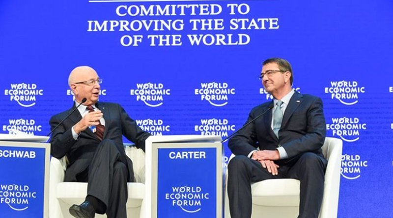 US Defense Secretary Ash Carter speaks with Klaus Schwab, founder and executive chairman of the World Economic Forum, during a special session of the forum's annual meeting in Davos, Switzerland, Jan. 22, 2016. DoD photo by Army Sgt. 1st Class Clydell Kinchen