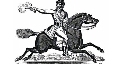 Highwayman Dick Turpin riding Black Apple, from a Victorian toy theatre. Source: Wikipedia Commons.
