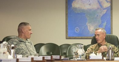 U.S. Marine Corps Gen. Joseph F. Dunford Jr., right, chairman of the Joint Chiefs of Staff, meets with U.S. Army Gen. David M. Rodriguez, commander, U.S. Africa Command, at Africom headquarters in Stuttgart, Germany, Jan. 4, 2016. DoD photo by Navy Petty Officer 2nd Class Dominique A. Pineiro