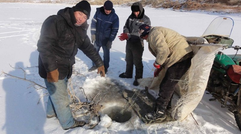 Ice fishing on the Syr Darya in Kazakhstan. Local residents have close ties with their region's longest river. Photo: William Wheeler