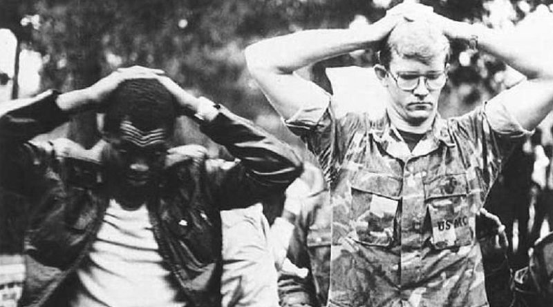 Two American hostages in Iran hostage crisis. Source: revolution.shirazu.ac.ir, Wikipedia Commons.