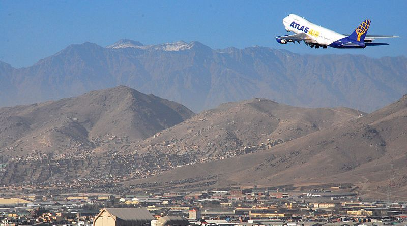 Aircraft takes off from Kabul international Airport, Kabul, Afghanistan. Photo by Eliezer Gabriel (via ISAF Headquarters Public Affairs Office from Kabul, Afghanistan), Wikipedia Commons.