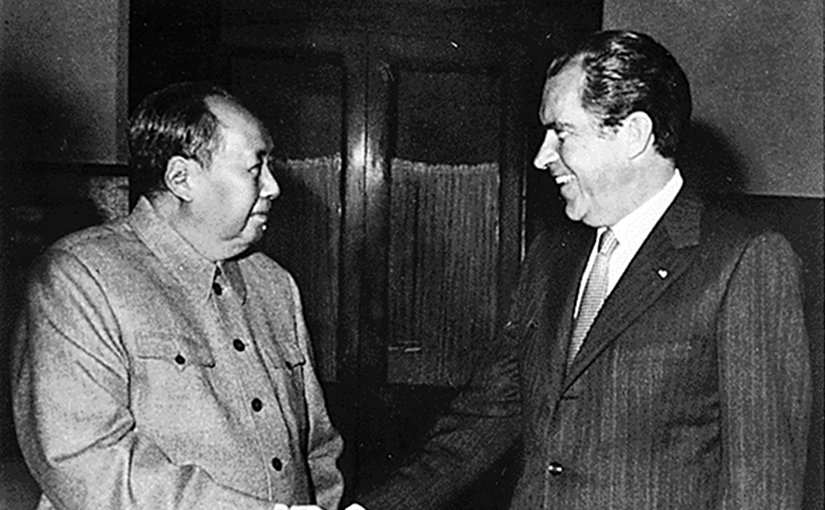 Richard Nixon meets with Mao Zedong in Beijing, February 21, 1972. Photo Credit: Nixon Presidential Materials, U.S. National Archives, College Park, Maryland, Wikipedia Commons.