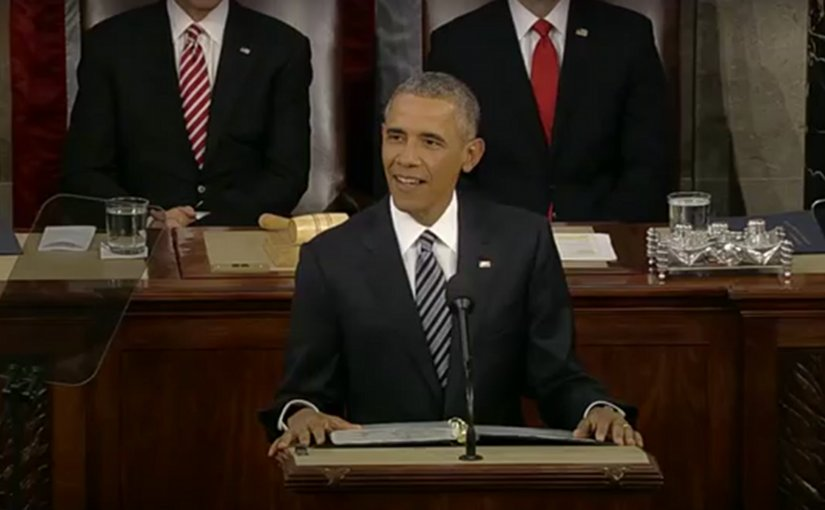 President Obama Delivers The State of the Union Address. Screenshot from White House video.