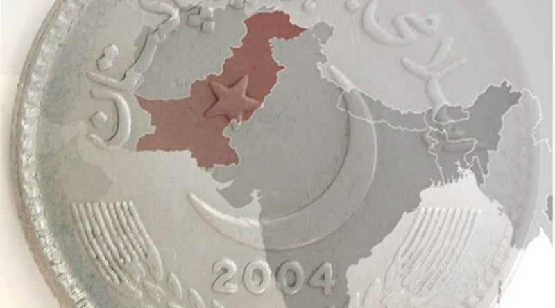 Location of Pakistan and Pakistani Rupee coin.
